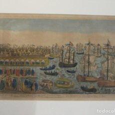 Arte: GRABADO COLOREADO DEL PUERTO DE CARTAGENA - SIGLO XVIII - EMBARQUE DE LA SRA. INFANTE DE ESPAÑA . Lote 136703790