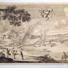 Arte: PRECIOSA AGUAFUERTE DE STEFANO DELLA BELLA (1610-1664) ANGEL CON ESCUDO DE LOS BORBONES,DATA DE 1660. Lote 136864022