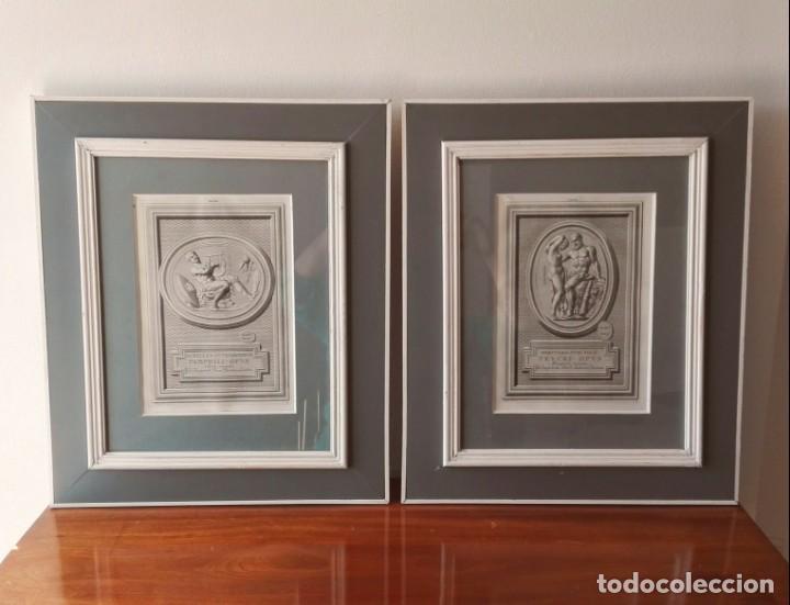 2 GRABADOS CLÁSICOS ENMARCADOS SIGLO XVIII (Arte - Grabados - Antiguos hasta el siglo XVIII)