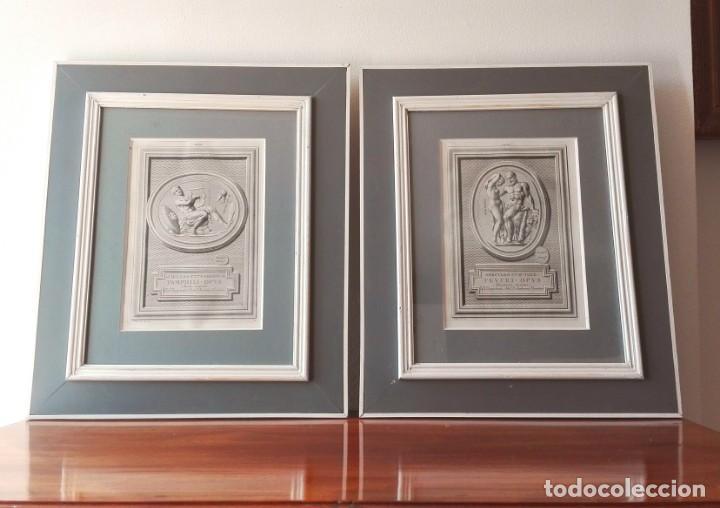 Arte: 2 Grabados Clásicos Enmarcados Siglo XVIII - Foto 2 - 137215758