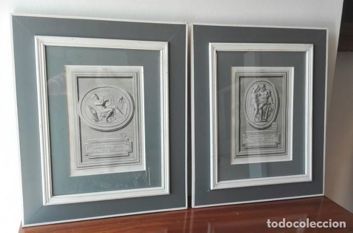 Arte: 2 Grabados Clásicos Enmarcados Siglo XVIII - Foto 3 - 137215758