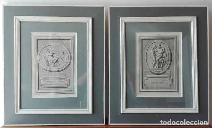 Arte: 2 Grabados Clásicos Enmarcados Siglo XVIII - Foto 6 - 137215758