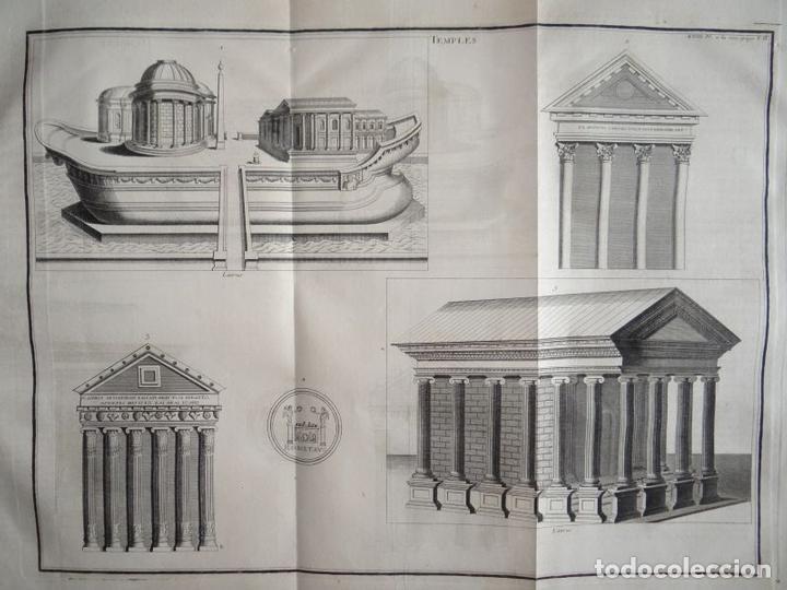Arte: Distintos tipos de antigos templos clásicos, hacia 1722. B. Montfaucon - Foto 2 - 137769270