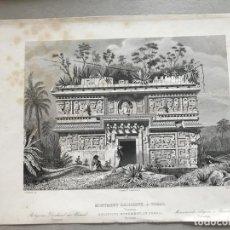 Arte: TEMPLO MAPA DE UXMAL EN YUCATÁN (MÉXICO, AMÉRICA), CA. 1850. LEVEIL/BURY. Lote 137983682
