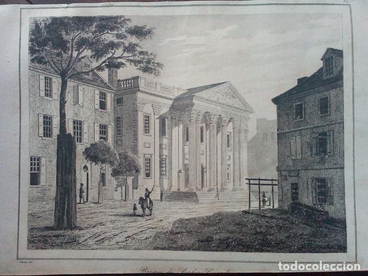 1837 -GIRARD BANK BUILDING-PHILADELPHIA.BANCO.ESTADOS UNIDOS.GRABADO ORIGINAL (Arte - Grabados - Modernos siglo XIX)