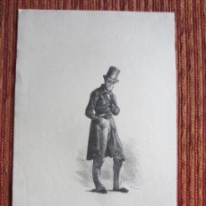 Arte: 1890-GRABADO ORIGINAL. HOMBRE CON CHISTERA. INGLATERRA. Lote 138559502