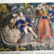 Arte: LITOGRAFIA DE TURGIS, MAZEPA SORPRENDIDO POR EL CONDE, PINTADA A MANO, CA.1850. Lote 138653922