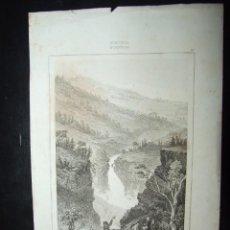 Arte: GRABADO ANTIGUO CASCADA DE RJUKANFOS NORUEGA NORWEGE - LOUIS DESIREE THIENON CHOLET 21X13CM 1838. Lote 138863706