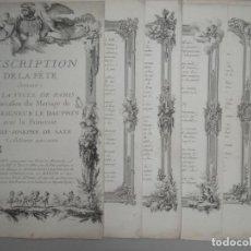Arte: 16 GRABADOS EN COBRE DEL MATRIMONIO DE MONSEIGNEIR LE DAUPHIN CON LA PRINCESA MARIE JOSEPHE DE SAXE. Lote 139092406