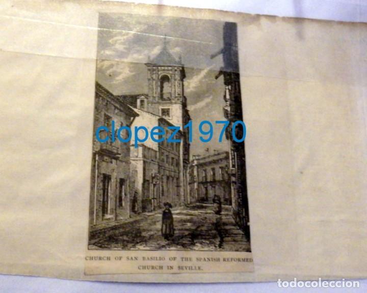 SEVILLA. SAN BASILIO GRABADO SIGLO XIX CIRCA 1860, 80X140MM (Arte - Grabados - Modernos siglo XIX)