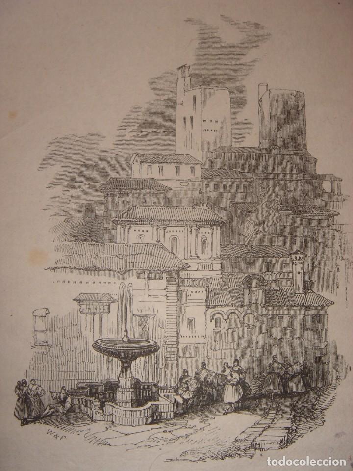 INFRECUENTE XILOGRAFÍA TORRE VELA, ALHAMBRA, GRANADA, ORIGINAL, 1835, DAVID ROBERTS, 1ªEDICIÓN. (Arte - Grabados - Modernos siglo XIX)