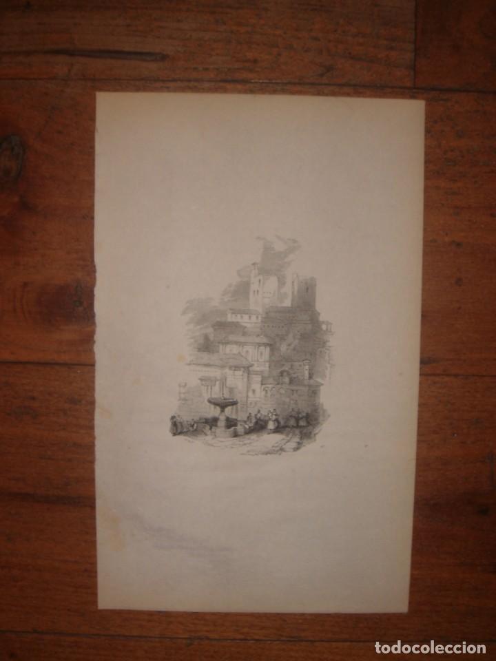 Arte: INFRECUENTE XILOGRAFÍA TORRE VELA, ALHAMBRA, GRANADA, ORIGINAL, 1835, DAVID ROBERTS, 1ªEDICIÓN. - Foto 2 - 139610182