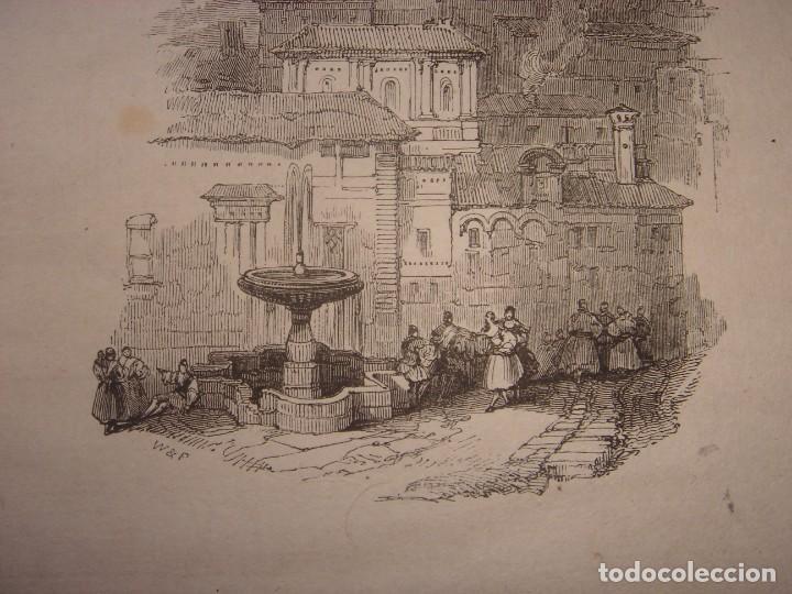 Arte: INFRECUENTE XILOGRAFÍA TORRE VELA, ALHAMBRA, GRANADA, ORIGINAL, 1835, DAVID ROBERTS, 1ªEDICIÓN. - Foto 5 - 139610182