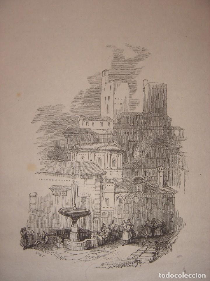 Arte: INFRECUENTE XILOGRAFÍA TORRE VELA, ALHAMBRA, GRANADA, ORIGINAL, 1835, DAVID ROBERTS, 1ªEDICIÓN. - Foto 6 - 139610182