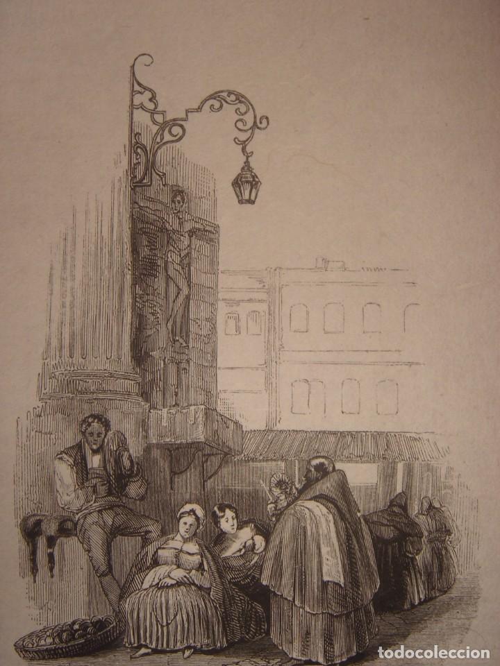 INFRECUENTE XILOGRAFÍA PLAZA BIRRAMBLA, GRANADA, ORIGINAL, 1835, DAVID ROBERTS, 1ªEDICIÓN. (Arte - Grabados - Modernos siglo XIX)