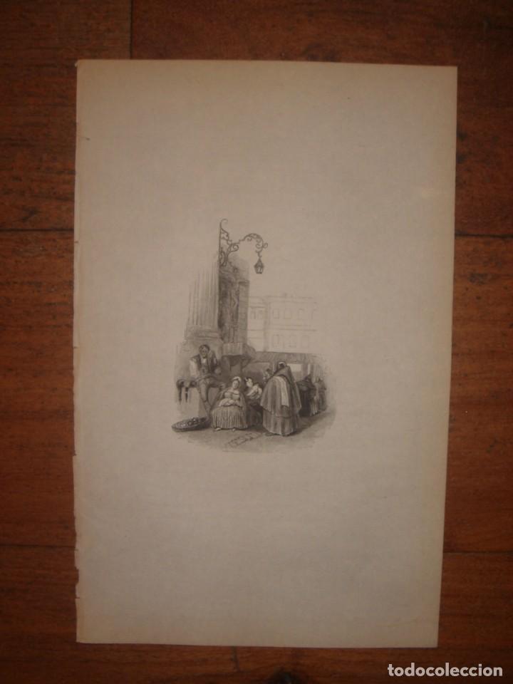 Arte: INFRECUENTE XILOGRAFÍA PLAZA BIRRAMBLA, GRANADA, ORIGINAL, 1835, DAVID ROBERTS, 1ªEDICIÓN. - Foto 2 - 139611526