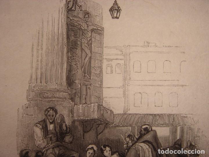 Arte: INFRECUENTE XILOGRAFÍA PLAZA BIRRAMBLA, GRANADA, ORIGINAL, 1835, DAVID ROBERTS, 1ªEDICIÓN. - Foto 4 - 139611526