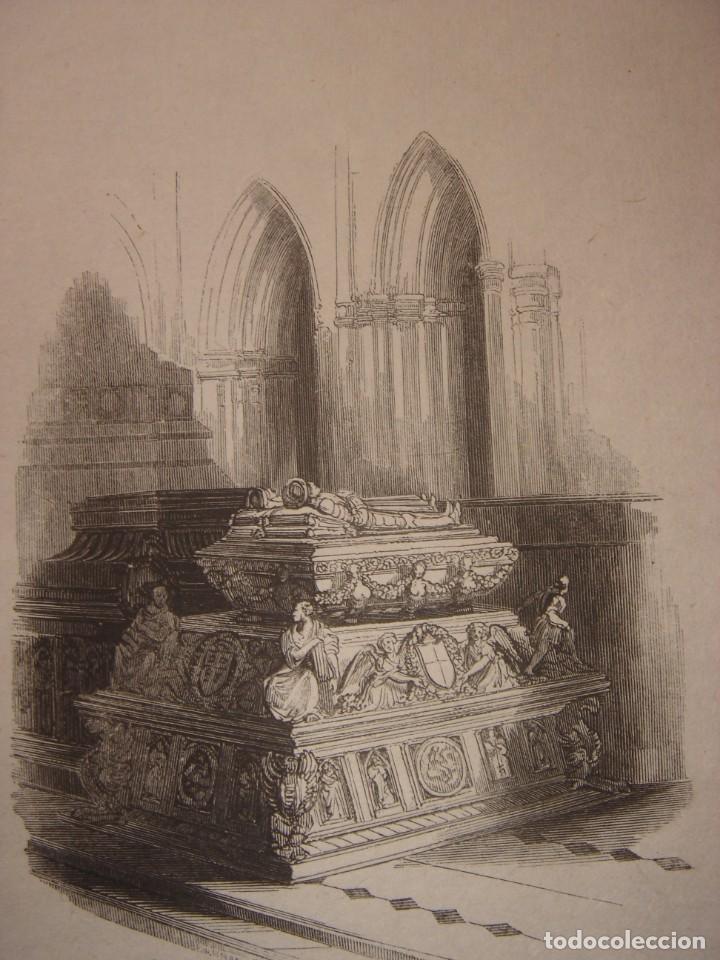 INFRECUENTE XILOGRAFÍA TUMBA REYES CATÓLICOS, GRANADA, ORIGINAL, 1835, DAVID ROBERTS, 1ªEDICIÓN. (Arte - Grabados - Modernos siglo XIX)