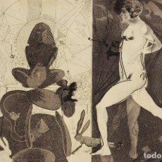 Arte: JORGE CASTILLO (PONTEVEDRA 1933) GRABADO DE 58 X 48,5 PAPEL 65X57.1973. MARCO A. Y CLEOPATRA 67/80.. Lote 139713650