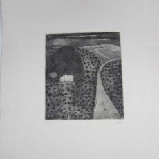 Arte: CONCHA IBÁÑEZ (1926), GRABADO, TIRAJE 2 / 25, CASA, CAMINO, CAMPO. 61,5X45CM. Lote 139852378