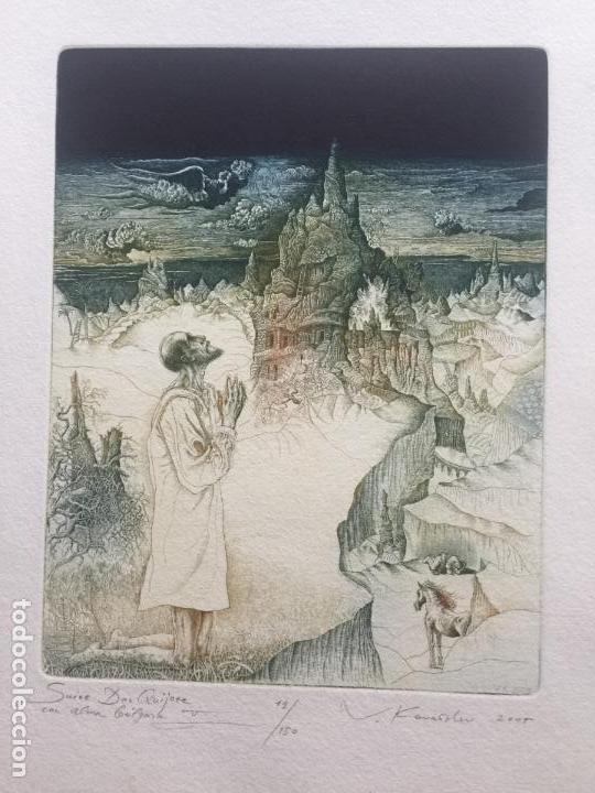 VALENTIN KOVATCHEV AGUAFUERTE FIRMADO Y TITULADO MALAGA ETERNA III DEL AÑO 1994 (Arte - Grabados - Contemporáneos siglo XX)