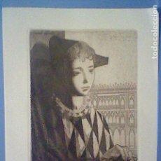Arte: PARDO GALINDO ARLEQUIN NIÑO GRABADO MARAVILLOSO FIRMADO AUTOGRAFO NAVIDAD 1954 DIPTICO TARJETA . Lote 140036754