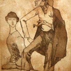 Arte: XAVIER NOGUÉS CASAS (1873-1940) AGUAFUERTE ORIGINAL FIRMADO A LAPIZ Y FECHADO DEL AÑO 1930. Lote 140124634