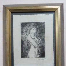 Arte: EDVARD MUNCH GRABADO ORIGINAL FIRMADO A LAPIZ, TITULO : LA MUSA MUDOCCI EN 1895, 32,8 X 26,5 CMS. Lote 140226878
