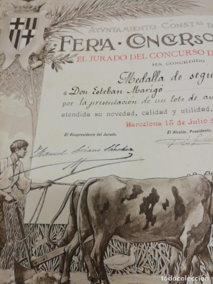 Arte: Antiguo grabado emitido por el Ayuntamiento de Barcelona. Feria, concurso, agrícola. Año 1898. - Foto 8 - 140411166