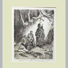 Arte: 1876 QUIJOTE Y DORE - GRABADO AL ACERO ORIGINAL CON PASSEPARTOUT DOBLE 17. Lote 140412290