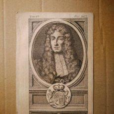 Arte: GRABADO CALCOGRAFIADO SIGLO XVIII, MONARQUÍAS EUROPEAS RETRATO MONARCA INGLÉS JACQUES II / JACOBO II. Lote 140483622