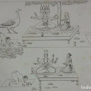 Grabado India Brahma Saraswati Vishnu Lakshmi Garo Lemaitre Direxit Siglo XIX con Paspartú biselado