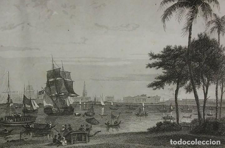 GRABADO INDIA CALCUTA LEMAITRE DIREXIT SIGLO XIX CON PASPARTÚ BISELADO (Arte - Grabados - Modernos siglo XIX)
