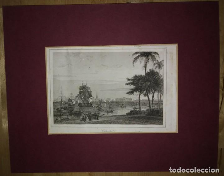 Arte: Grabado India Calcuta Lemaitre Direxit Siglo XIX con Paspartú biselado - Foto 2 - 140513666