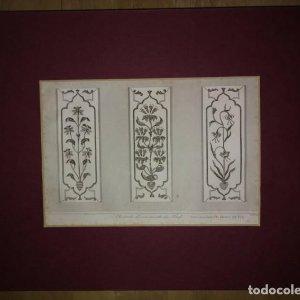 Grabado India Cenefas India Lemaitre Direxit Siglo XIX con Paspartú biselado