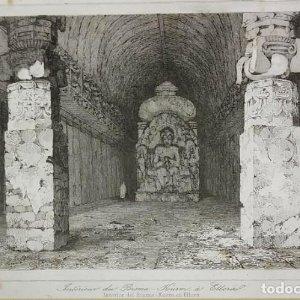 Grabado India Cueva de Bisma Kurm Ellora India Lemaitre Direxit Siglo XIX con Paspartú biselado