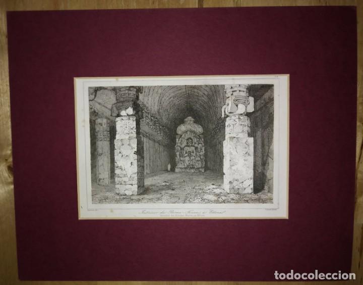Arte: Grabado India Cueva de Bisma Kurm Ellora India Lemaitre Direxit Siglo XIX con Paspartú biselado - Foto 2 - 140514838