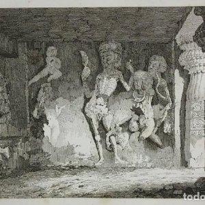 Grabado India Escultura de esqueletos Ellora India Lemaitre Direxit Siglo XIX con Paspartú biselado