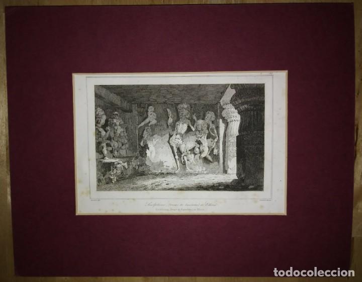 Grabado India Escultura de esqueletos Ellora India Lemaitre Direxit Siglo XIX con Paspartú biselado - 140514966