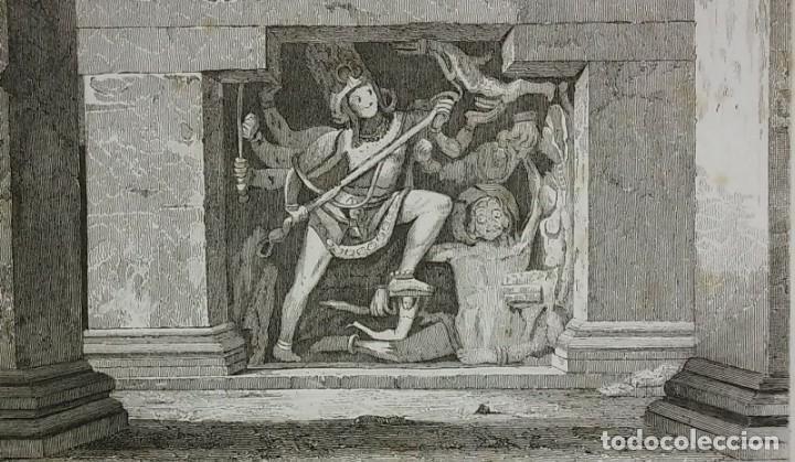 Grabado India Escultura Ellora India Lemaitre Direxit Siglo XIX con Paspartú biselado