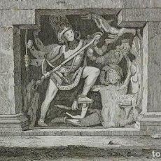 Arte: GRABADO INDIA ESCULTURA ELLORA INDIA LEMAITRE DIREXIT SIGLO XIX CON PASPARTÚ BISELADO. Lote 140515102