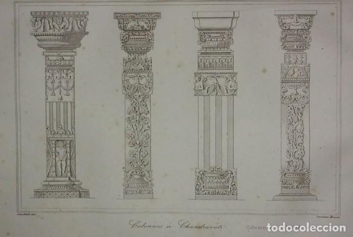 GRABADO INDIA GRABADO ANTIGUO DE COLUMNAS INDIAS LEMAITRE DIREXIT SIGLO XIX CON PASPARTÚ BISELADO (Arte - Grabados - Modernos siglo XIX)