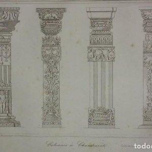 Grabado India Grabado antiguo de columnas indias Lemaitre Direxit Siglo XIX con Paspartú biselado