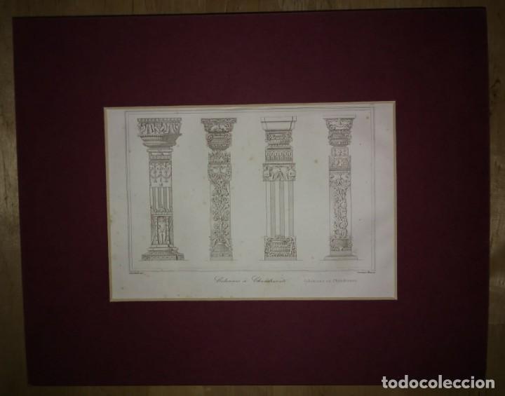 Arte: Grabado India Grabado antiguo de columnas indias Lemaitre Direxit Siglo XIX con Paspartú biselado - Foto 2 - 140515234