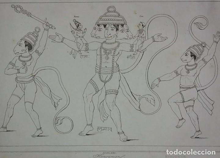 GRABADO INDIA HANUMAN LEMAITRE DIREXIT SIGLO XIX CON PASPARTÚ BISELADO (Arte - Grabados - Modernos siglo XIX)