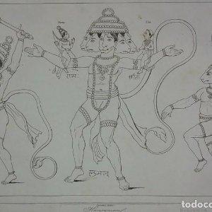 Grabado India Hanuman Lemaitre Direxit Siglo XIX con Paspartú biselado