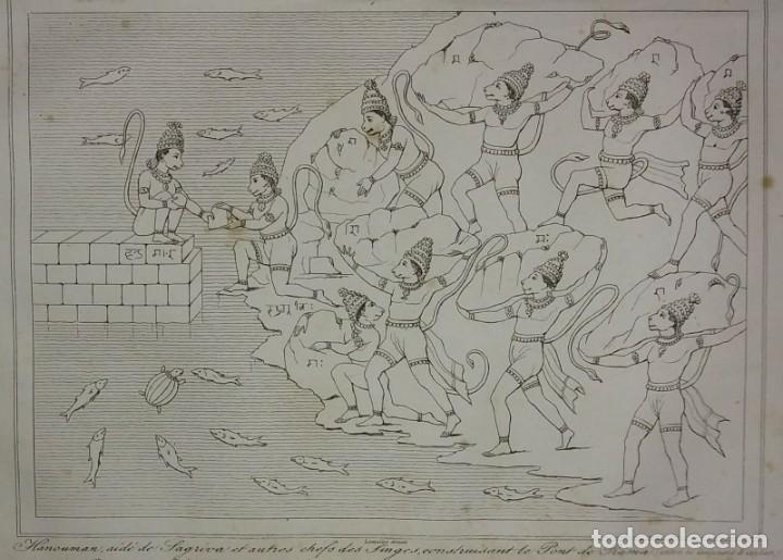 GRABADO INDIA HANUMAN SAGRIVA LEMAITRE DIREXIT SIGLO XIX CON PASPARTÚ BISELADO (Arte - Grabados - Modernos siglo XIX)