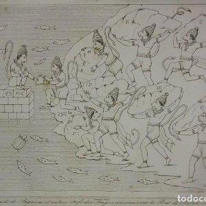 Grabado India Hanuman Sagriva Lemaitre Direxit Siglo XIX con Paspartú biselado