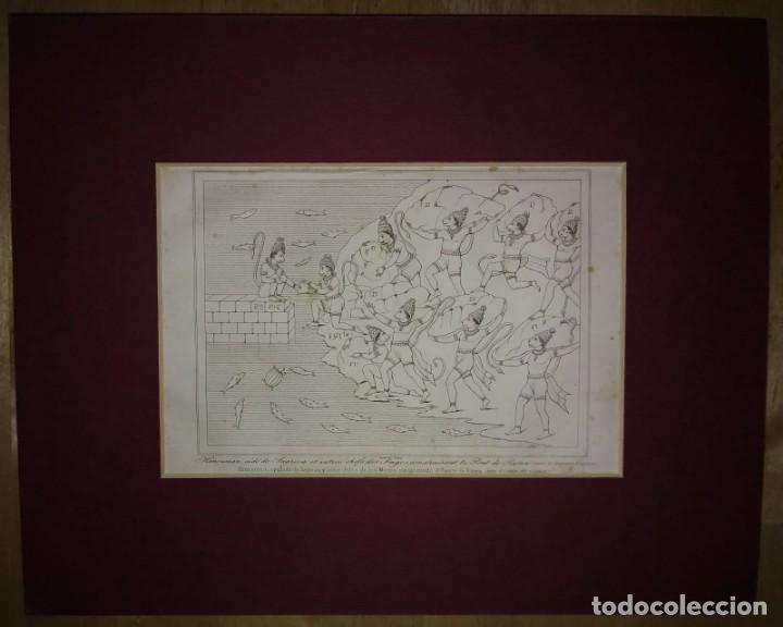Arte: Grabado India Hanuman Sagriva Lemaitre Direxit Siglo XIX con Paspartú biselado - Foto 2 - 140515562
