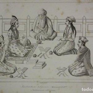 Grabado India Instrucción religiosa India Lemaitre Direxit Siglo XIX con Paspartú biselado
